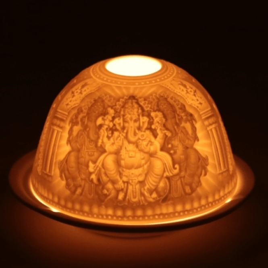 Photophore en porcelaine pour bougie chauffe-plat Ganesha