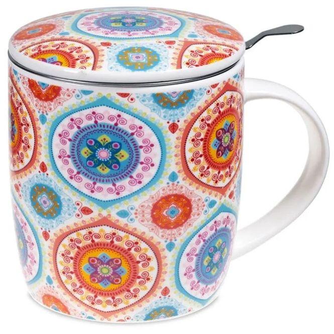 Set de tasse à thé mandala bleu