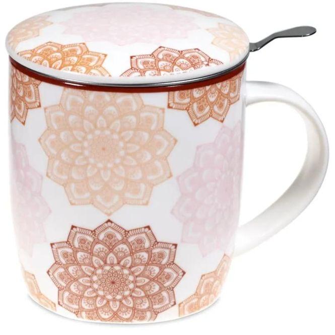 Set de tasse à thé mandala rose