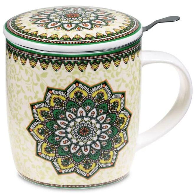 Set de tasse à thé mandala vert