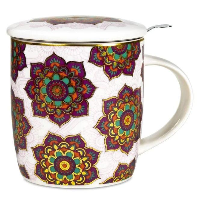 Set de tasse à thé mandala rouge